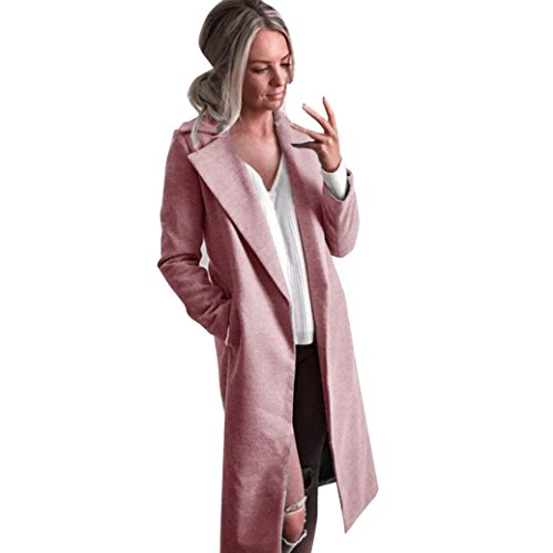 Abrigo de Invierno Mujer -Abrigo de Mujer Chaqueta Larga Parka Chaqueta Cardigan Abrigo S, Rosa