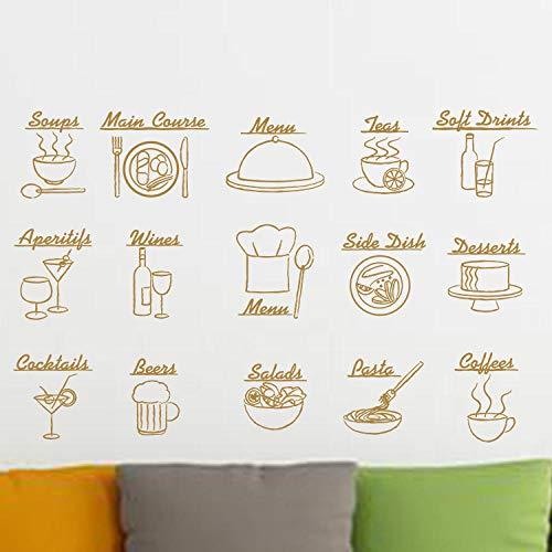 Yirenfeng Wandaufkleber Schlafzimmer Dekoration Essen Englisch Pvc-Kombination