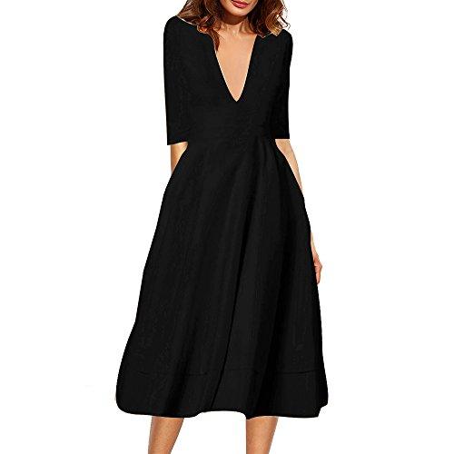 Belle Style Rückenfrei Kleid Damen IHRKleid® Elegant Etuikleid Knielang Festliche Kleider Schwarz #