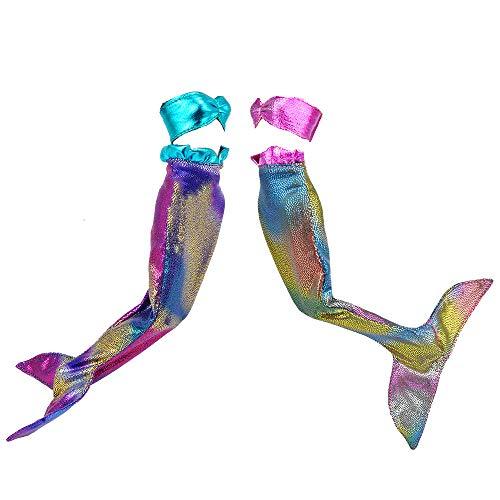 E-TING Meerjungfrau Kleidung Kleider Outfit für Mädchen Puppen , 2Pcs Mermaid Pink und Blue , Puppe Nicht Enthalten (Kostüm Für Barbie Puppen)