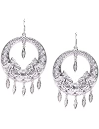 Zaveri Pearls Antique Silver Tone Chandbali With Leave Drops Earring For Women-ZPFK6787