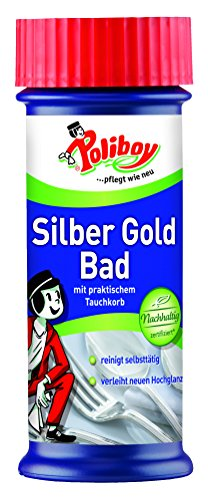 Poliboy - Silber Gold Bad - mit praktischem Tauchkorb - verleiht neuen Hochglanz und reinigt selbstständig - Silberreinigung/Schmuckreiniger - Einzeln - 375 ml - Made in Germany