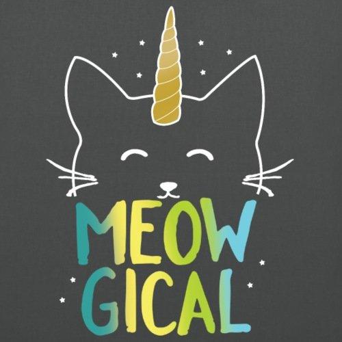 Spreadshirt Meowgical Magic Cat Unicorn Fabric Bag Graphite Cn2deajv
