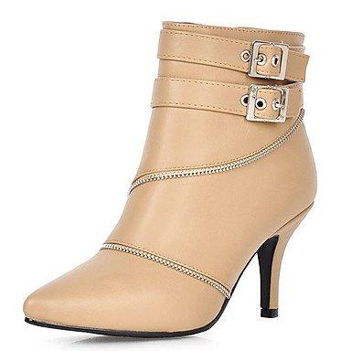 Wuyulunbi @ Bottes Chaussures Femmes Hiver Confort Parti Informel Et Robe De Soirée Confort Zipper Talon Aiguille Amande Blanc Noir 2a-2 3/4 Us5 / Eu35 / Uk3 / Cn34