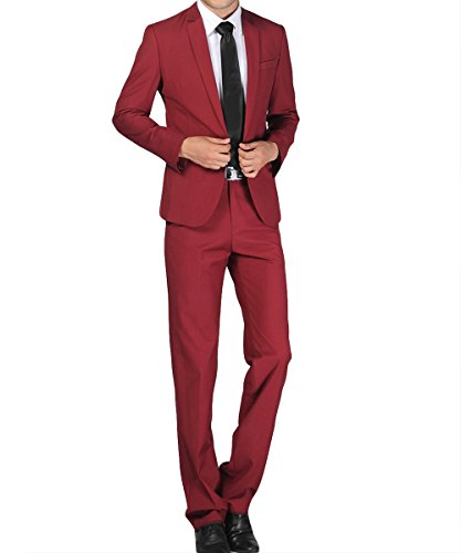 Costume Homme Formel Deux-Pièces Un Bouton Business Mariage Slim Fit Blazer Mode Elégant Classique Vin rouge