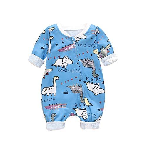 Livoral Mädchen Langarm Karikatur Druck Säuglings Baby Jungen Spielanzug Overall Kleidung(Blau-1,9-12 Monate)