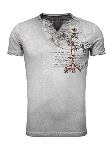 Key Largo Herren Sommer T-Shirt T WEAPON button Printshirt Slim Fit Schnitt V-Ausschnitt mit Knöpfen anthrazit XL -