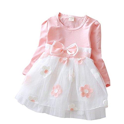 PJPYIF Baby Mädchen Langarm Blumen Bowknot Dress Prinzessin Party Kleid 12-18 Monat (Dresses Prinzessin Baby)