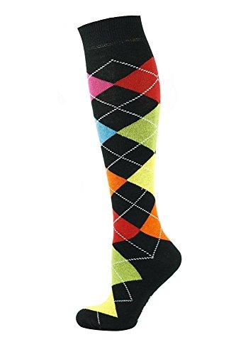 MySocks® Knie hoch Argyle Socken Schwarz 7 Farben
