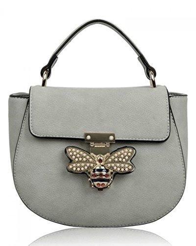 LeahWard Kleine Umhängetasche für Damen Designer Tote Grab Taschen Handtaschen für ihren Partyurlaub 0812 (NEUTRALGRAU)