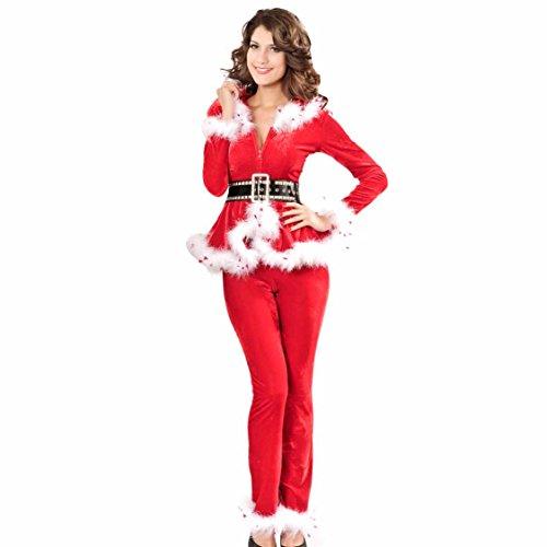 VENI MASEE Frauen sexy geheimen Sankt-Kostüm / Frau Fräulein Weihnachten Kostüm Kostüm Outfit , ROT, M