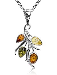 Multicolor Amber Sterling Silver Leaves Pendant Necklace Chain 46 cm