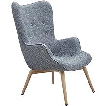 Designer Ohren Sessel Mit Armlehnen Aus Webstoff In Grau | Anjo | Club  Sessel