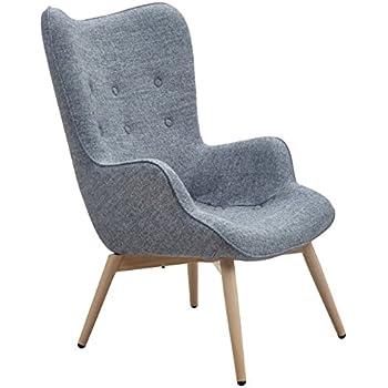 Designer Ohren Sessel Mit Armlehnen Aus Webstoff In Grau   Anjo   Club  Sessel Im Retro Design   Gestell Aus Holz In Natur   68 X 41 X 92 Cm