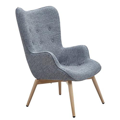 Designer Ohren-Sessel mit Armlehnen aus Wolle grau | Anjo | Grauer Club-Sessel im ...