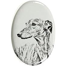 Mops Oval Grabstein aus Keramikfliesen mit Einem Bild eines Hundes ArtDog Ltd