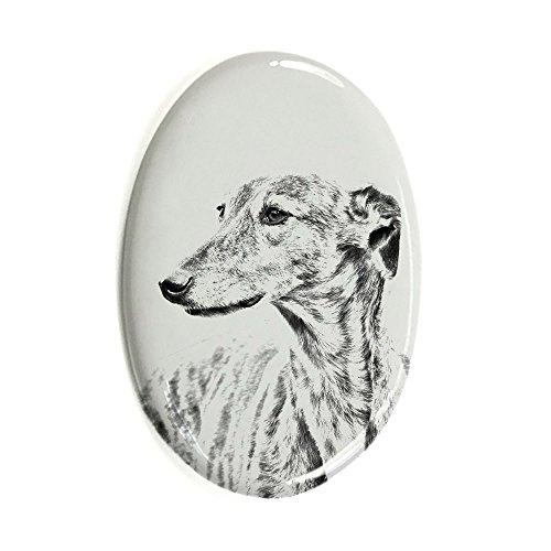 Windhund, Oval Grabstein aus Keramikfliesen mit einem Bild eines Hundes