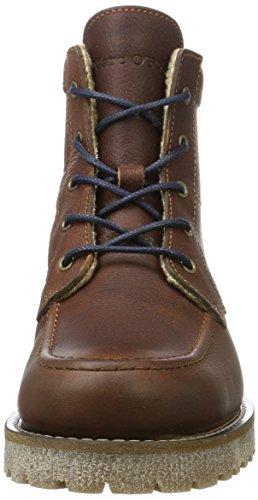 Marc OPolo Lace Flatheel Bootie 70920036301109, Rangers Boots Homme Marron (Brandy)