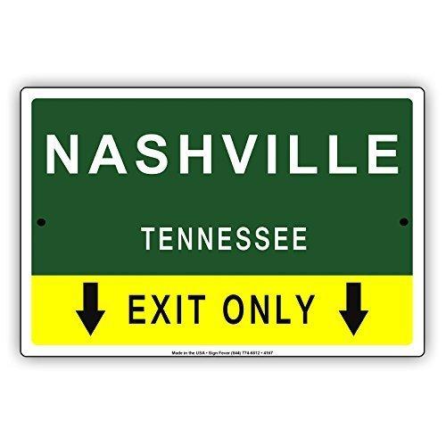 Monsety Dekoration Schild Nashville Tennessee Exit Nur mit Laserpointer Pfeil Richtung Weg Road Signs Retro Metall Sicherheit Geschenk
