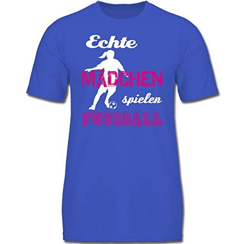 Sport Kind - Echte Mädchen Spielen Fußball weiß - 140 (9-11 Jahre) - Royalblau - F130K - Jungen Kinder T-Shirt