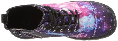 T.U.K. Anarchic Combat, Boots femme Bleu (Galaxy Sublimation Print 7 Eye)
