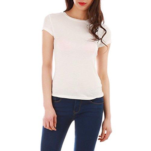 La Modeuse - T-shirt femme basique à manches courtes Ecru
