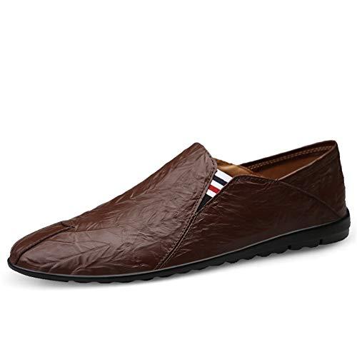YQXR Zapatos de Cuero Nuevo 2019 Mocasines de conducción for Hombres Zapatos Casuales Fiesta sin Cordones...