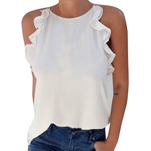 CUTUDE Damen T Shirt, Bluse Kurzarm Sommer Frauen Rundhals Schulter Rüsche Hülsen Hemd Freizeit Weste Oberteil Top (Weiß, XX-Large) -