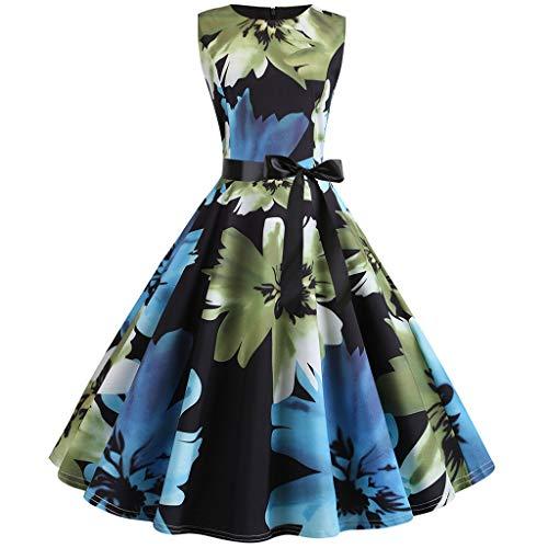 LQQSTORE Kleider Damen Kleid 1950er Vintage Rockabilly Kleider Retro ärmellose O Neck Print Abend...