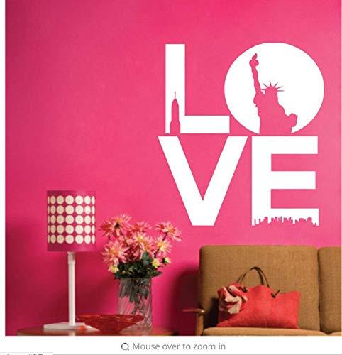 Lsfhb Liebe Zitate, New York Moderne Landschaft Kunst Wandaufkleber Schriftzug Liebe Worte 42X50Cm