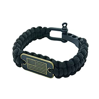 USA Flag Paracord Survival Bracelet High Tensile Cobra Weave With Adjustable Bow Shackle By aarrows & Co (Stealth Black)