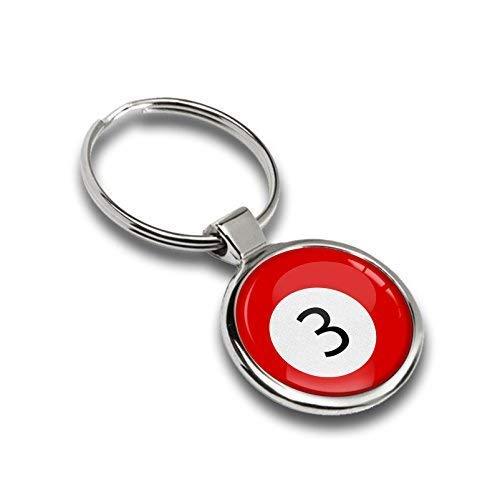 Schlüsselanhänger Metall Keyring Autoschlüssel Geschenk Metall-Schlüsselanhänger Schlüsselbund Edelstahl Sport Spiel Billiard Ball Zahl Nummer 3 Emblem, KK 180