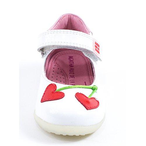 AGATHA RUIZ DE LA PRADA - Ballerine blanche en cuir doux, avec velcro,fille,filles,enfant,bébé Blanc