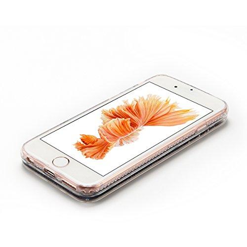 Cover iPhone 6 Custodia iPhone 6s Liquido Anfire Trasparente Rigida Duro Plastica PC Case per Apple iPhone 6 / 6s (4.7 Pollici) Sabbie Mobili Shell 3D Bling Glitter Floating Quicksand Copertura Hard S Nero