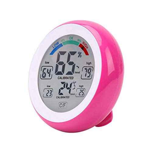 King Boutiques Weather Clock Funkwetterstation Tester Multifunktionale Digital Thermometer Hygrometer Temperaturanzeige Luftfeuchtigkeit Meter Uhr Wand Runde Haushaltsgegenstände (Color : Pink)