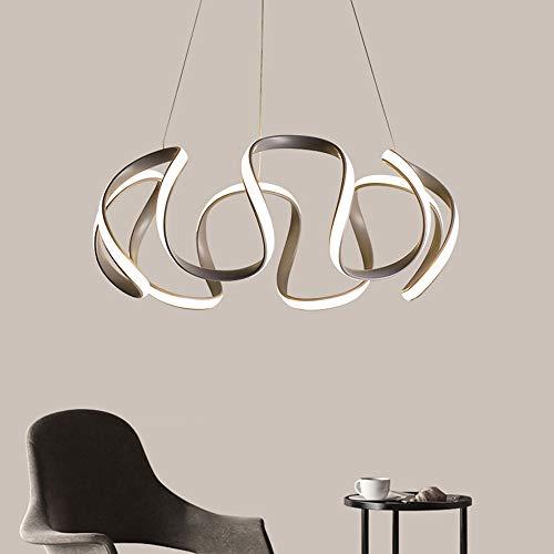 Qingbaotongzhuang LED Curve Deckenleuchte Weiß Gelb Warmes Licht Unregelmäßiger Kronleuchter Esszimmer Wohnzimmer Arbeitszimmer Schlafzimmer Grau Einfach Postmoderne Persönlichkeit Aluminium Acryl Sti -