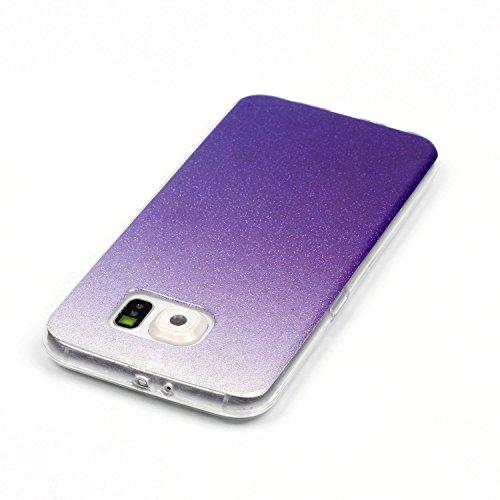 TPU Coque pour Galaxy S6 Edge, Premium Cristal Liquide Stars Sparkles Strass Coque TPU Étui Protection Bumper Housse Doux Silicone Gel Ultra Mince Case Cover pour Samsung Galaxy S6 Edge +Bouchons de poussière (8RR)