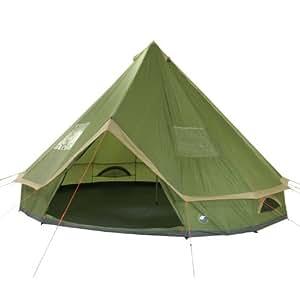 10T Camping-Zelt Mojave 500 Tipi mit XXL Schlafbereich für 5-10 Personen Outdoor Idianerzelt Familienzelt mit Wohnraum, eingenähte Bodenwanne, wasserdichtes Pyramidenzelt mit 5000mm Wassersäule
