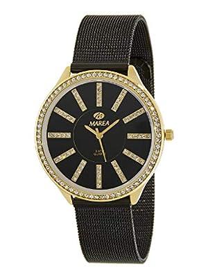Reloj Marea Analógico Mujer B21148/8 Extraplano, Malla Milanesa Negra y Caja Dorado