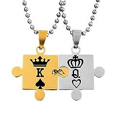 Idea Regalo - 'Regali di Natale una coppia uomo e donna coppia collana con ciondolo con catena, in acciaio inox Puzzle ciondolo con incisione corona