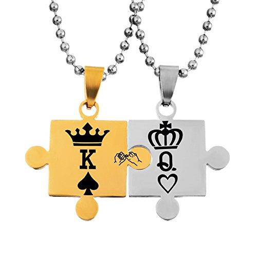 Collares con colgantes para regalo de Navidad, un par para mujer y hombre, de acero inoxidable, de rompecabezas, con grabado de corona 'Q' y 'K', dorado y plateado