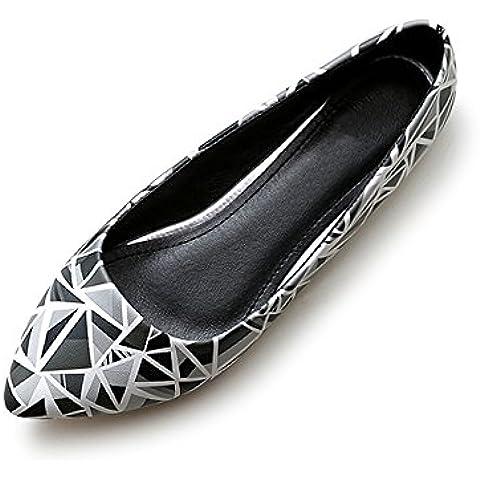 OCHENTA Mujer zapatillas de ballet en punta modo de la cabeza de la PU solo tamano 34-43 de los zapatos