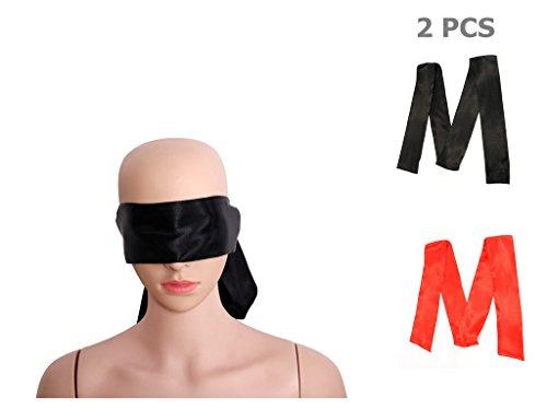 Unicoco Conjunto de 2 Piezas de Vendas para Ojos Color Negro/Rojo Material Suave