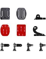 Victure Helmet Front + Side Mount Kit, J-Hook Buckle and Buckle Clip Basic Mount for Action Camera, Sports Camera, Waterproof Camera, Helmet Camera