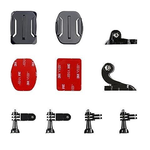 Victure Casque Avant + Kit de Fixation Latérale, J-Hook Boucle et Boucle Clip Basic Support de Fixation pour Caméra GoPro Hero/5 de Session Hero 1 2 3 3 + 4 5 Akaso VicTsing Apeman Caméra de Sport