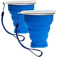 Vaso Plegable sin BPA Tazas de Café de Silicona Con tapa Copa de Viaje Portátil Para Senderismo Exterior Cámping Deportes (2 x Azul)