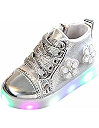 Bebé Flor bordado Zip Cristal zapatillas con LED luces ,Yannerr recien nacido niño niña luminoso colorido ligeros deportivos ruedas Running llevó antideslizante zapatos botín botas