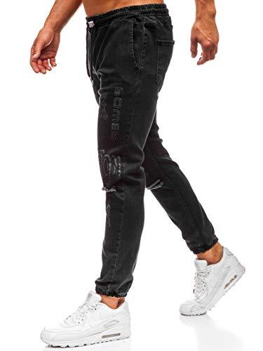 BOLF Herren Jeanshose Baggyhose Destroyedjeans Denim Clubwear Casual Style Otantik 2037 Anthrazit S [6F6] | 05902646910055