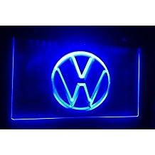 Volkswagen Logo caracteres Publicidad Neon Cartel Azul
