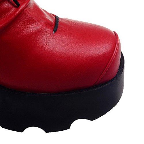 Redondo Alto Salto Pé Vermelho Puramente Botas Do Nó Puxar Mulheres Agoolar Com Dedo R8xwnqntB